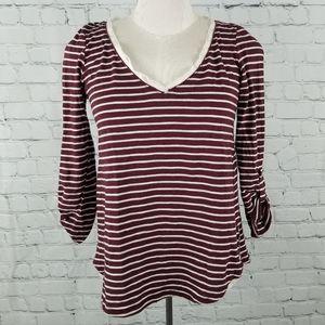 MEADOW RUE | Cassia maroon stripe lace accent top